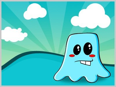 Create a Blue Vector Character from Pencil Sketch to Coloring