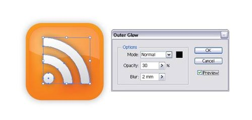 Create a Vector RSS Icon with Illustrator - screen shot.