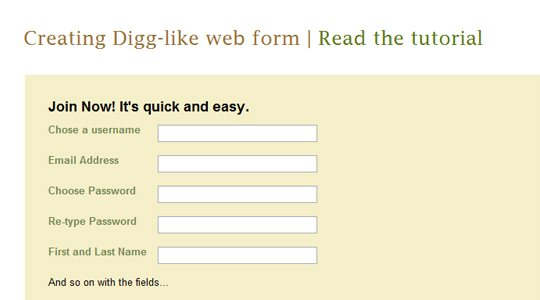 Digg-style signup form