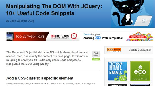 Manipulating the DOM through jQuery