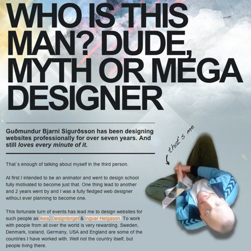 About Guomundur Bjarni Sigurosson in Best Practices For Effective Design Of About me-Pages