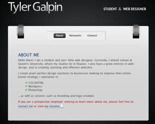 Bcw Tyler Galpin in Best Practices For Effective Design Of About me-Pages