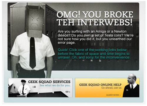 geeksquad 60 Really Cool and Creative Error 404 Pages by Designsmag
