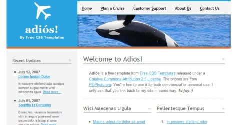 Adios in 100 Free High-Quality XHTML/CSS Templates