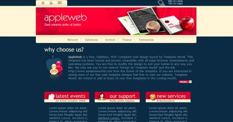 Appleweb in 100 Free High-Quality XHTML/CSS Templates