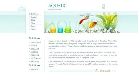 Aquatic in 100 Free High-Quality XHTML/CSS Templates