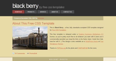 Blackberry in 100 Free High-Quality XHTML/CSS Templates