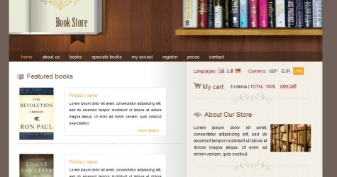 Bookstore in 100 Free High-Quality XHTML/CSS Templates