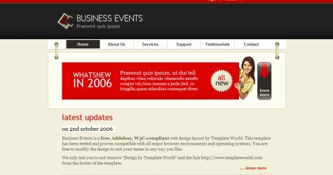 Businessevents in 100 Free High-Quality XHTML/CSS Templates