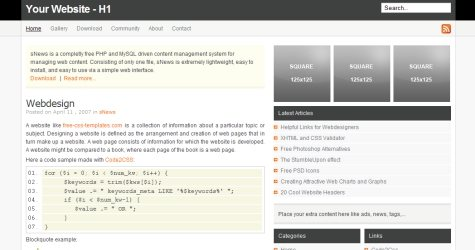 Bwdec in 100 Free High-Quality XHTML/CSS Templates