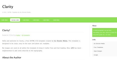 Clarity in 100 Free High-Quality XHTML/CSS Templates