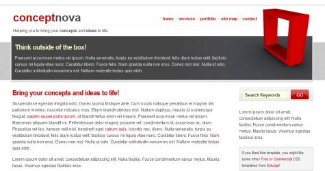 Conceptnova in 100 Free High-Quality XHTML/CSS Templates
