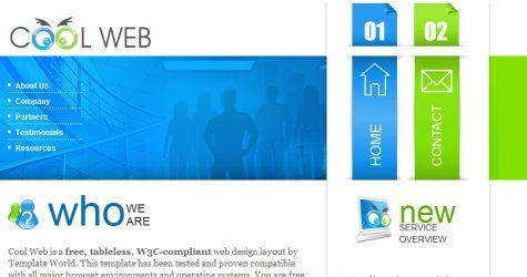Coolweb in 100 Free High-Quality XHTML/CSS Templates