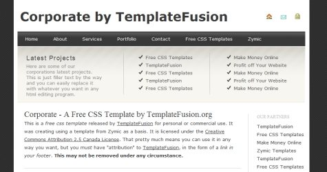 Corptemp in 100 Free High-Quality XHTML/CSS Templates