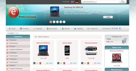 Electronix in 100 Free High-Quality XHTML/CSS Templates