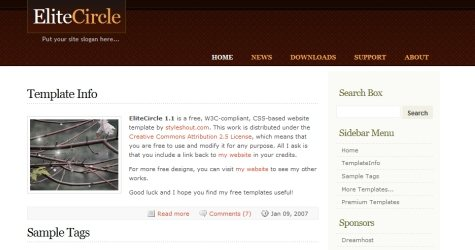 Elitecircle in 100 Free High-Quality XHTML/CSS Templates