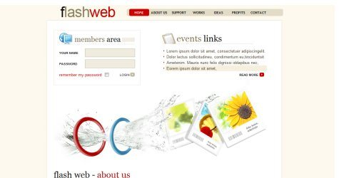 Flashweb in 100 Free High-Quality XHTML/CSS Templates