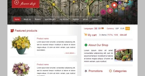 Flowershop in 100 Free High-Quality XHTML/CSS Templates