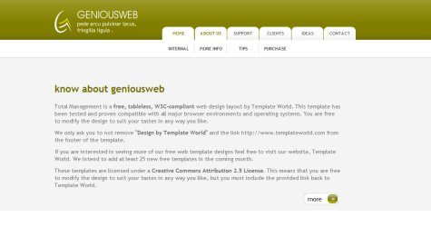 Geniousweb in 100 Free High-Quality XHTML/CSS Templates