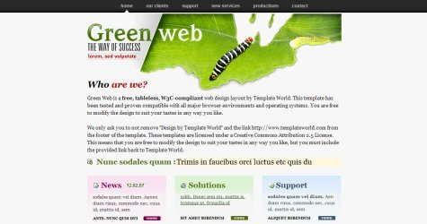 Greenweb in 100 Free High-Quality XHTML/CSS Templates