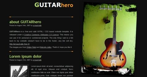 Guitar in 100 Free High-Quality XHTML/CSS Templates