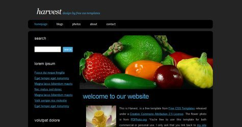Harvest in 100 Free High-Quality XHTML/CSS Templates