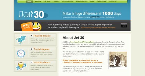 Jet30 in 100 Free High-Quality XHTML/CSS Templates
