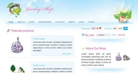 Jewelryshop in 100 Free High-Quality XHTML/CSS Templates