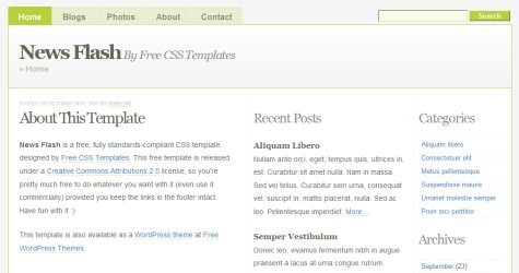 Newsflash in 100 Free High-Quality XHTML/CSS Templates