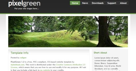 Pixelgreen in 100 Free High-Quality XHTML/CSS Templates
