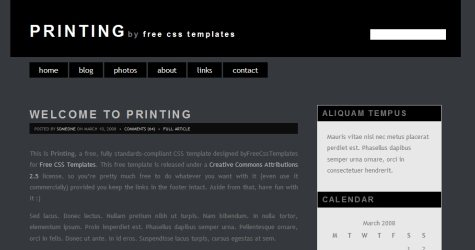 Printing in 100 Free High-Quality XHTML/CSS Templates