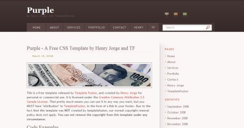 Purpletemp in 100 Free High-Quality XHTML/CSS Templates