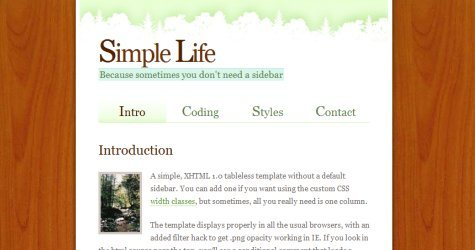 Simplelife in 100 Free High-Quality XHTML/CSS Templates