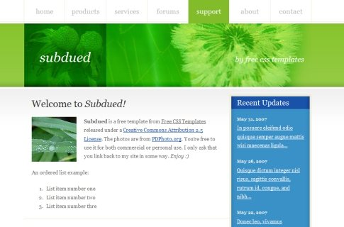 Subdued in 100 Free High-Quality XHTML/CSS Templates