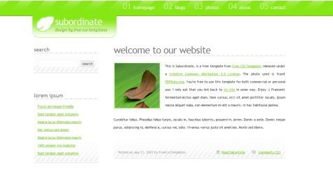 Subordinate in 100 Free High-Quality XHTML/CSS Templates