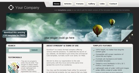 Symisun in 100 Free High-Quality XHTML/CSS Templates