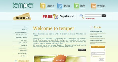 Temper in 100 Free High-Quality XHTML/CSS Templates