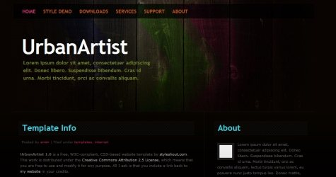 Urbanart in 100 Free High-Quality XHTML/CSS Templates