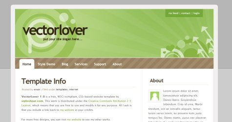 Veclove in 100 Free High-Quality XHTML/CSS Templates