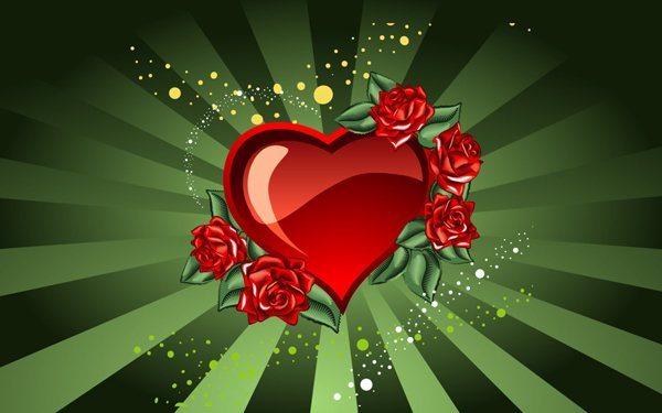 Saint Valentines Day Heart and roses for Valentine s Day 52 Free High Resolution Valentines Day Wallpapers