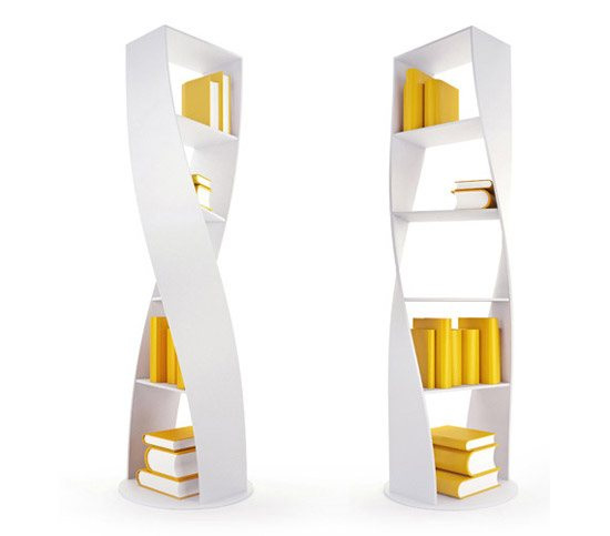 unusual and desirable bookshelves designs mydna twist bookca 46 Creative and Stylish Bookshelf Designs