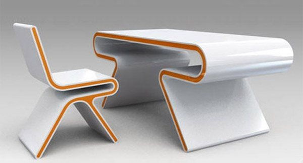 sleek futuristic modern desk chair set1 35 Super Modern Office Desk Designs - Designs Mag