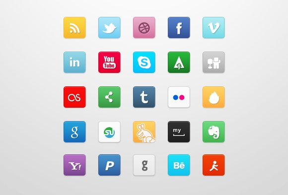 35 Cool and Stylish Social Media Icon Sets | Designsmag