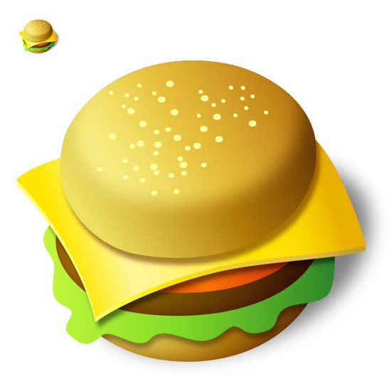 burger icon 42 Stunning Collection of 3D Illustrator Tutorials