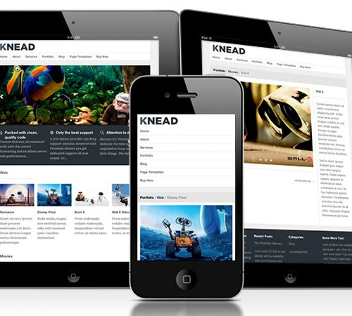 16 knead responsive portfolio 25 Professional Mobile WordPress Themes