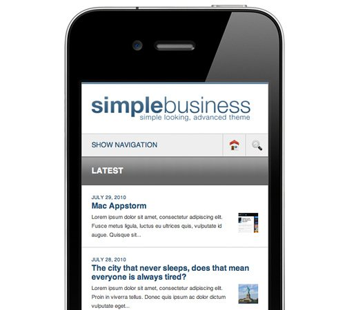 20 simple business corporate wordpress template 25 Professional Mobile WordPress Themes