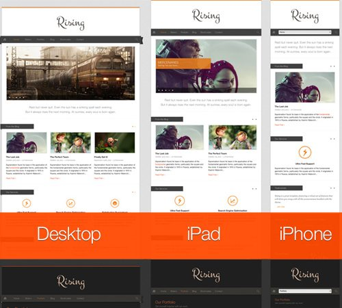 6 rising fully responsive wordpress theme 25 Professional Mobile WordPress Themes