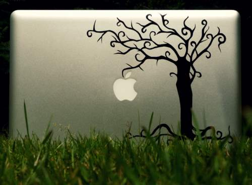 22 Apple Tree 500x368 50 Creative Laptop Skins and Stickers Design