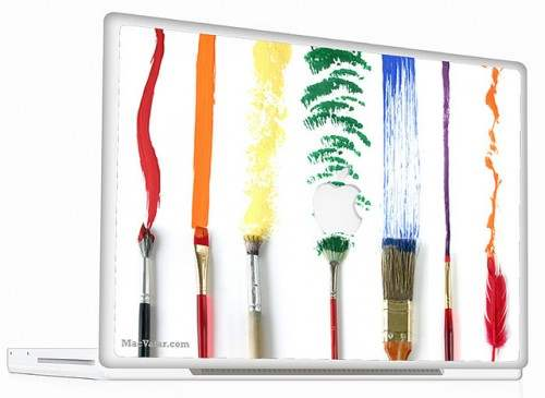 3 Macbook Skin Paint Brush 500x365 50 Creative Laptop Skins and Stickers Design