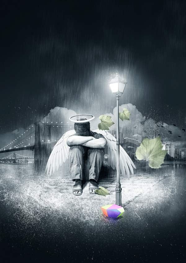 Create a Fallen, Rain-Soaked, Angel Composition in Photoshop in 30 New Photo Manipulation Tutorials